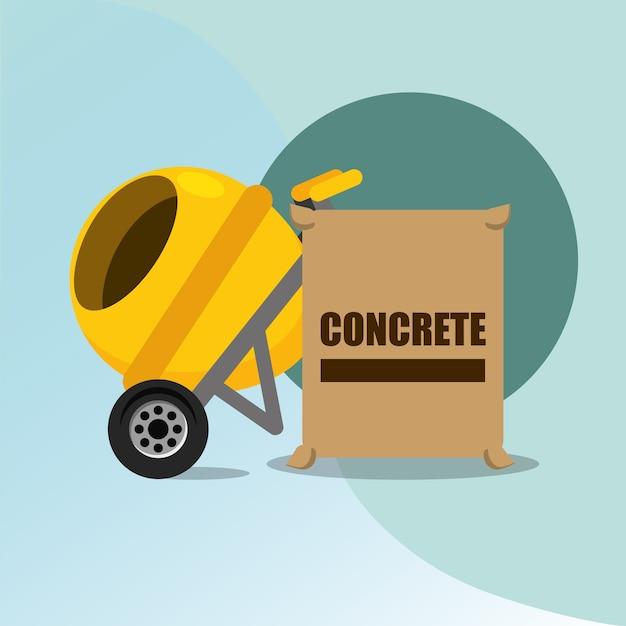 Misturador de concreto de construção e saco ferramentas equipamentos vector illustration Vetor Premium