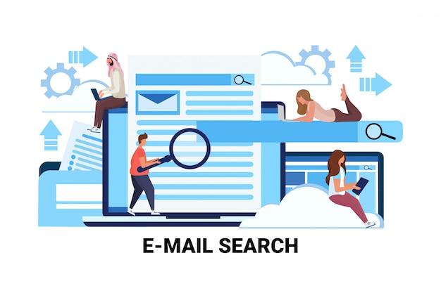 Misture corrida pessoas lupa zoom procurando informações e-mail pesquisa conceito Vetor Premium