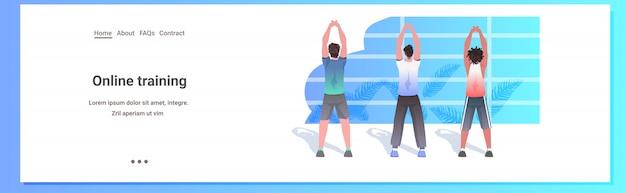 Misture raça homens fazendo yoga fitness exercícios de treinamento estilo de vida saudável conceito caras malhando horizontal comprimento total cópia espaço ilustração Vetor Premium