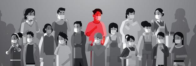 Misture raça povos multidão em máscaras protetoras com infecção de uma pessoa doente conceito propagação epidemia conceito de coronavírus wuhan pandemic médico risco retrato saúde horizontal Vetor Premium