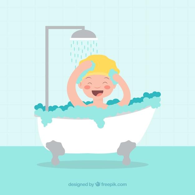 Miúdo de sorriso que toma um banho Vetor grátis