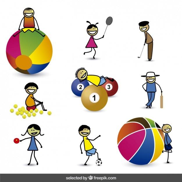 Miúdos dos desenhos animados feliz com diferentes esferas Vetor grátis
