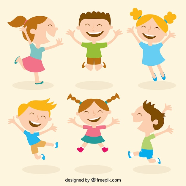 Miúdos felizes ilustração Vetor grátis