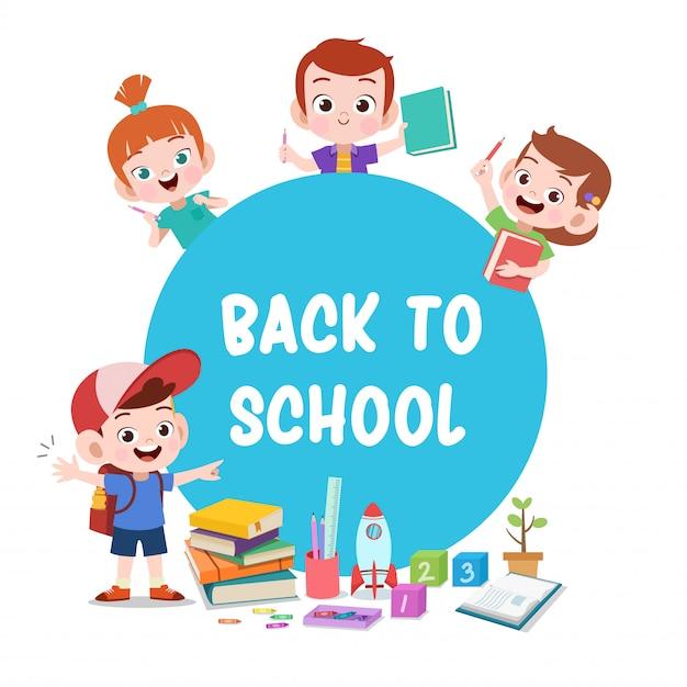 Miúdos prontos para a escola Vetor Premium