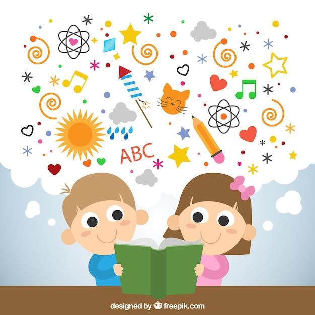 Miúdos que lêem um livro imaginativo Vetor grátis