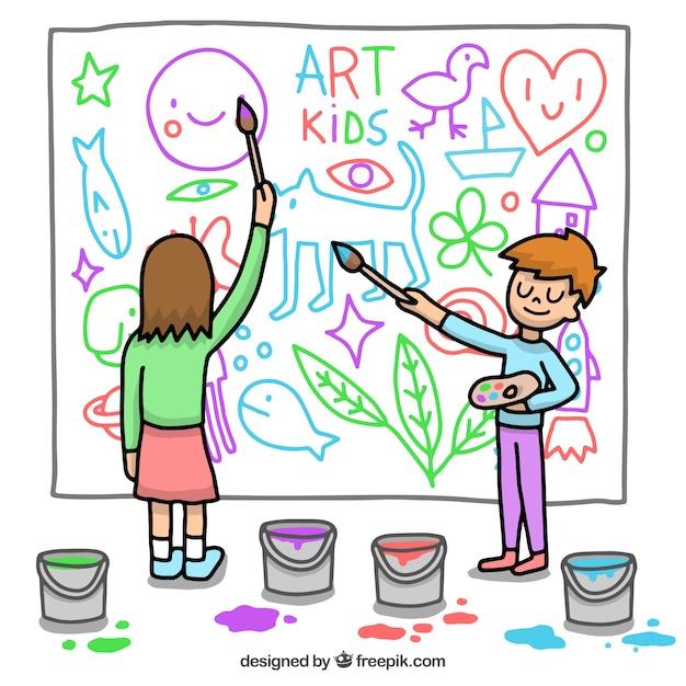 Miúdos que pintam um mural Vetor grátis