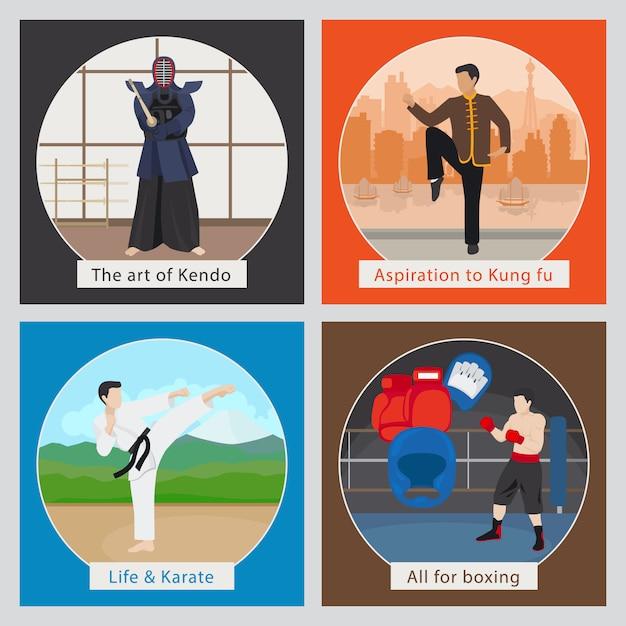 Mma ou artes marciais mistas de ilustração vetorial Vetor Premium