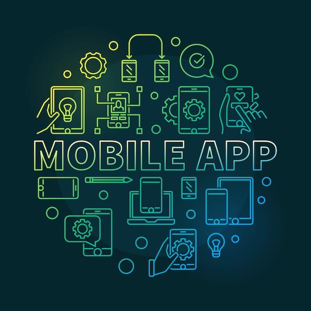 Mobile app rodada ilustração moderna de contorno Vetor Premium