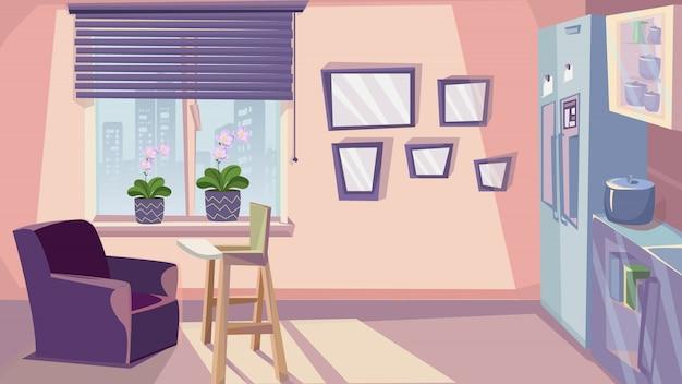 Mobília da sala do design de interiores da cozinha da família Vetor Premium