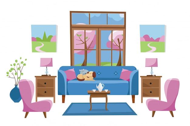 Mobília de sala de estar em fundo branco. sofá azul com mesa na sala com janela grande. fora das árvores da primavera. Vetor Premium