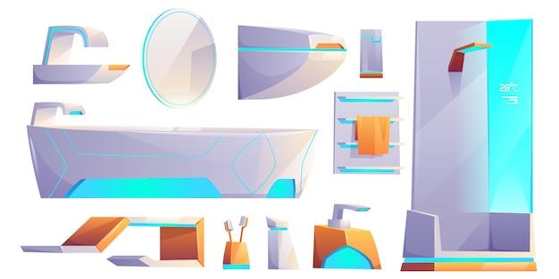 Mobília do banheiro futurista e conjunto de coisas isolado. banheira, cabine de chuveiro, lavatório, cabide de toalha, vaso sanitário, espelho, escovas de dentes Vetor grátis