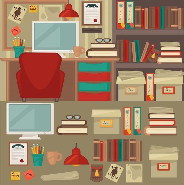 Mobiliário de escritório interiores e objetos. Vetor Premium