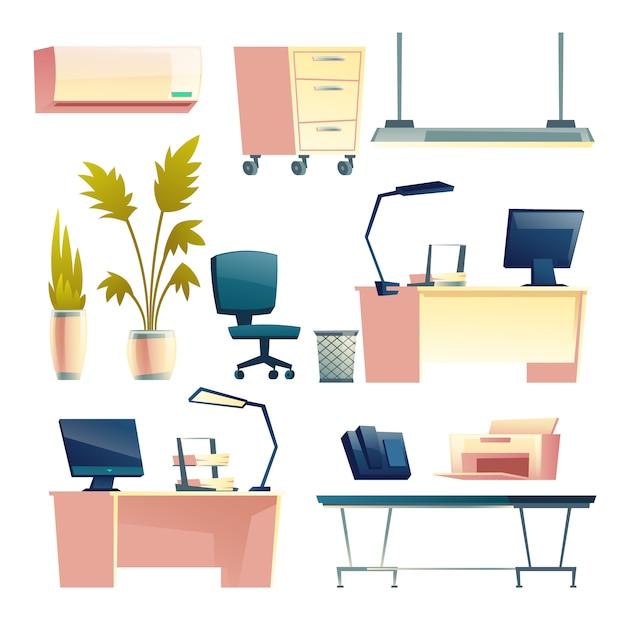 Mobiliário de escritório moderno local de trabalho, equipamentos e suprimentos isolado cartoon Vetor grátis