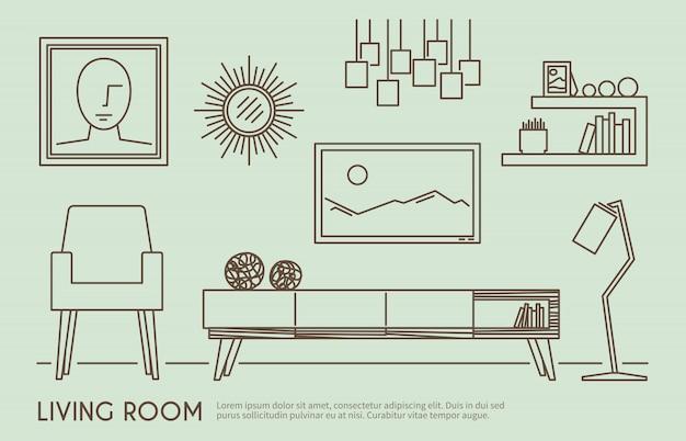 Mobiliário de sala de estar Vetor grátis