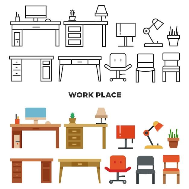 Mobiliário e colecção de locais de trabalho Vetor Premium