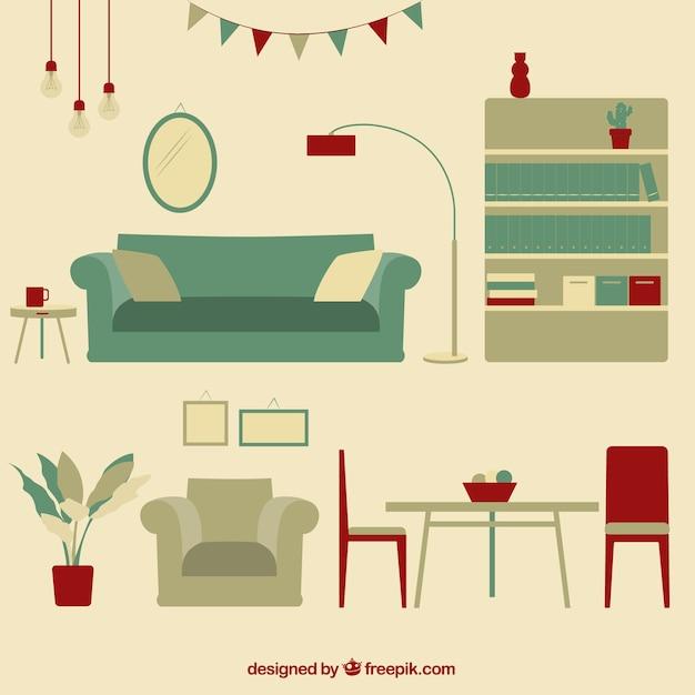 Mobili rio vintage sala de estar baixar vetores premium for Sala de estar retro vintage