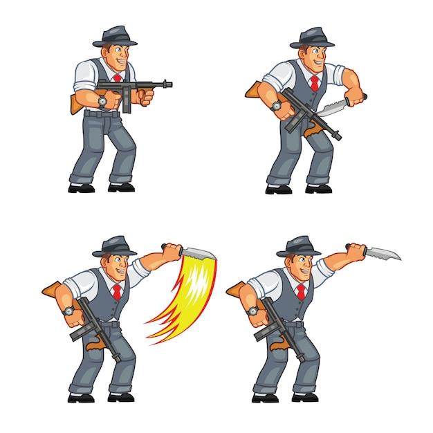 Mobster gunman game sprite Vetor Premium