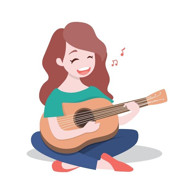 Moça feliz que joga a guitarra e canta uma música. Vetor Premium