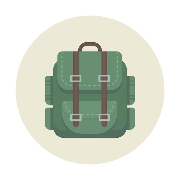 Mochila camping ícone para viagens ao ar livre Vetor Premium