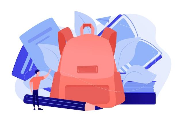 Mochila com livros, cadernos, lápis e aluno. de volta ao material escolar e de papelaria, ferramentas e acessórios educacionais, conceito de equipamento de aprendizagem Vetor grátis
