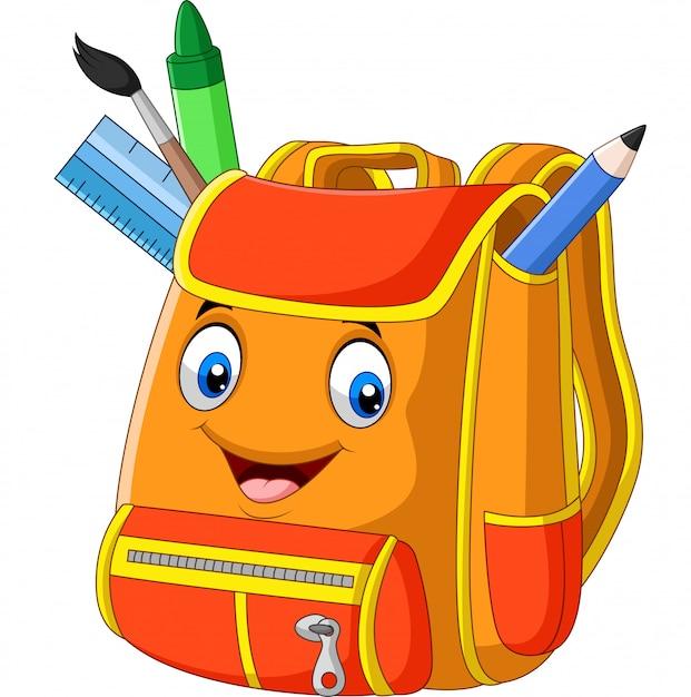 Mochila de escola dos desenhos animados em branco Vetor Premium