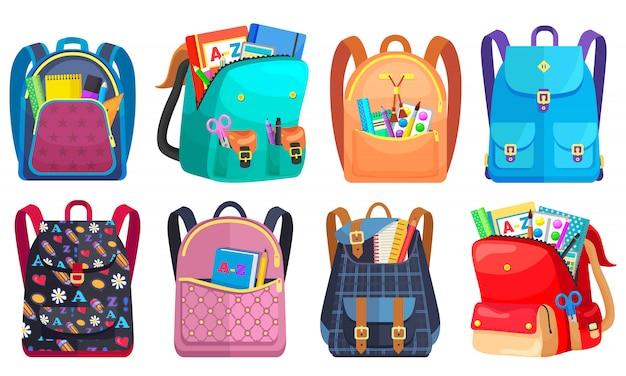 Mochila escolar colorida de volta à escola Vetor Premium