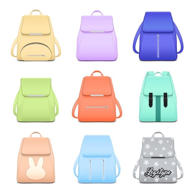 Mochila escolar realista elegante conjunto com nove imagens isoladas de mochilas elegantes para meninas ilustração em vetor Vetor grátis
