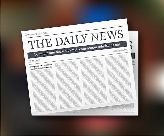 Mock-se de um jornal diário em branco. jornal inteiro totalmente editável em máscara de recorte. ilustração Vetor Premium