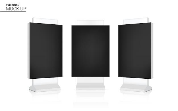 Mock-se realista led arregaçar banner quiosque exibir 3d pop Vetor Premium