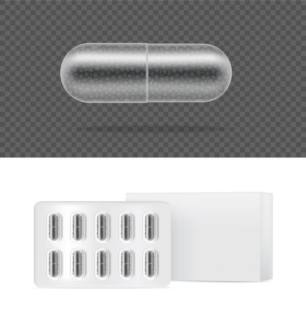 Mock up realista cápsula de medicamento comprimido transparente. Vetor Premium