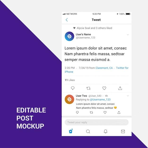 Mockup de postagem do twitter Vetor Premium