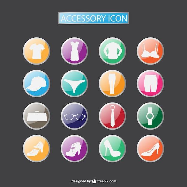 Moda acessorios coleção ícones download gratuito Vetor grátis