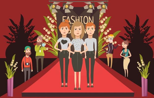 Moda de passarela conjunto composição plana com doodle modelos femininos e jornalistas fotógrafo personagens Vetor grátis