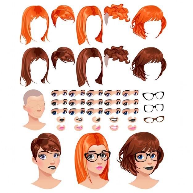 Moda feminina avatares 5 penteados em 2 cores 5 olhos em 3 cores 5 bocas em 2 cores 3 copos 1 de cabeça para várias combinações Alguns previews sobre os objetos de arquivo vetorial de fundo isolados Vetor grátis