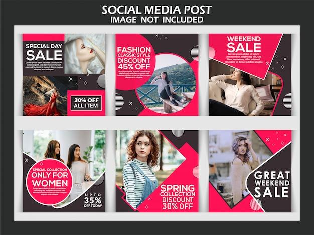Moda instagram post stories Vetor Premium