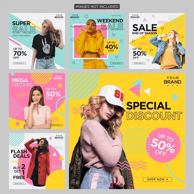 Moda memphis social media post design Vetor Premium
