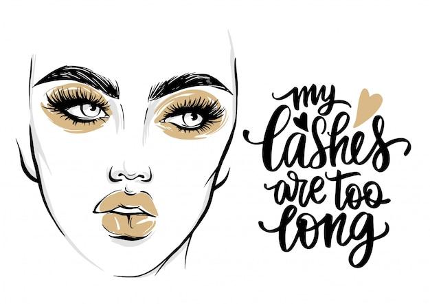 Moda poster com citação cílios e retrato de mulher com maquiagem dourada. Vetor Premium