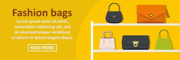 Moda sacos banner modelo horizontal conceito Vetor Premium
