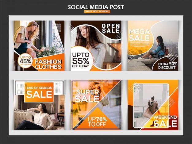 Moda, social, mídia, poste, modelo, desenho Vetor Premium