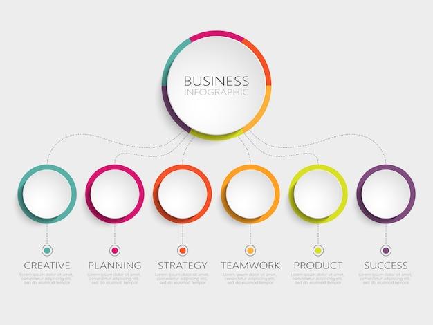 Modelo 3d abstrato infográfico com 6 etapas para o sucesso Vetor Premium