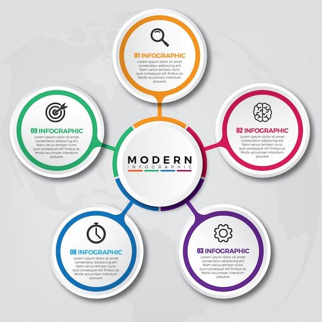 Modelo 3d de infográfico com 5 opções ou etapas Vetor Premium