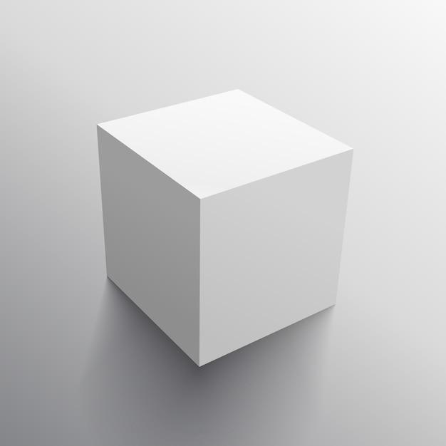 Modelo 3d realista projeto da caixa cubo Vetor grátis