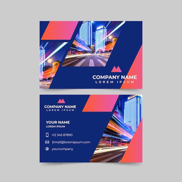 Modelo abstrato cartão de visita com foto Vetor grátis