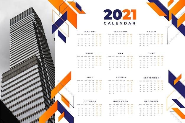 Modelo abstrato de calendário 2021 Vetor Premium