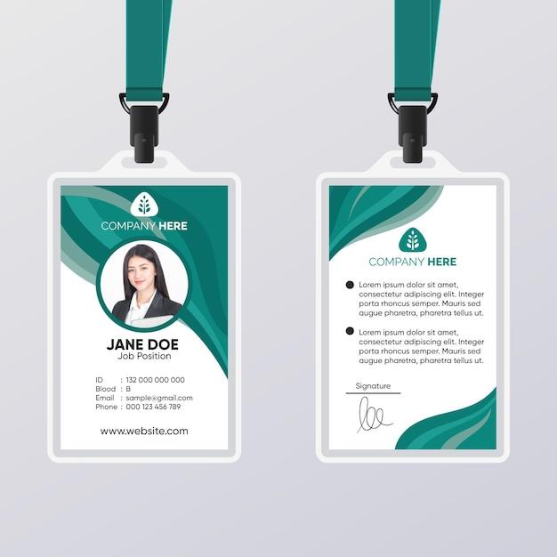 Modelo abstrato de cartão de identificação verde Vetor Premium