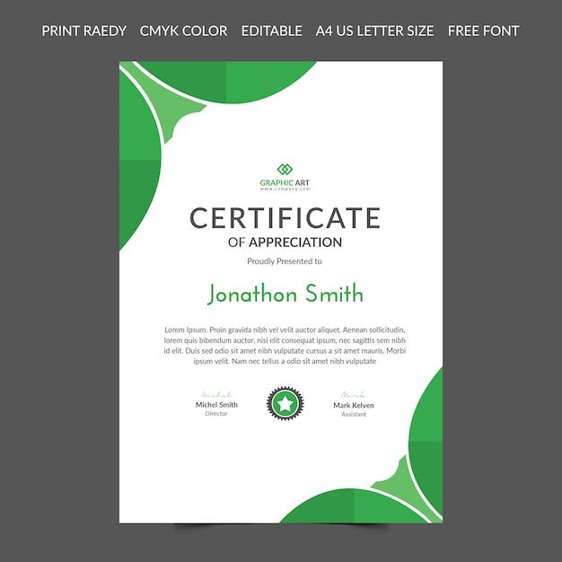 Modelo abstrato de certificado Vetor Premium