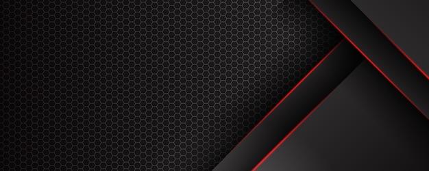 Modelo abstrato de fundo preto com padrão de triângulos e linhas de iluminação vermelha. conceito de design moderno de tecnologia esportiva. Vetor Premium