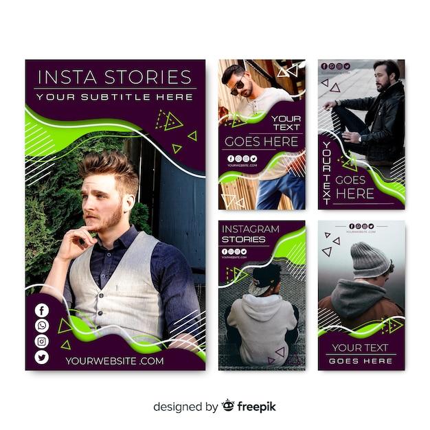 Modelo abstrato de histórias do instagram Vetor grátis