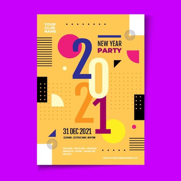 Modelo abstrato de panfleto de festa tipográfico de ano novo 2021 Vetor grátis