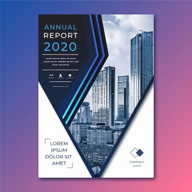 Modelo abstrato de relatório anual com foto Vetor grátis